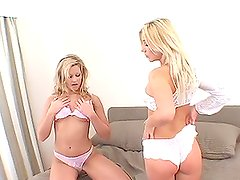 Fiery blond twins suck and fuck a hard cock