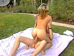 Jayna Woods seduces a guy and fucks him in the backyard