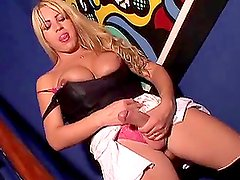 Blonde tranny Pamela (t) gets her butt fucked while drilling somebody's ass
