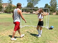 Smoking hot Nikki Benz loses the soccer game but wins in sex