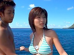Rin Suzuka has stunning sex on a yacht and gets a facial cumshot