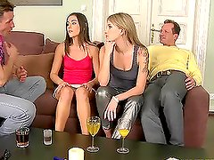 Two hetero couples enjoy hot nasty banging on the couch