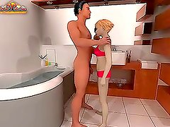 Kinky 3D blonde rides her BF's big dick in cowgirl position