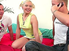 Amazing blonde Lena pleases two guys with big cocks