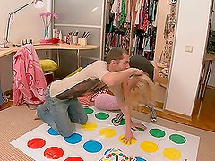 Ema the slutty blonde teen gets fucked after twister game