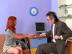 Sweet Amber blows her teacher and gets dildated by him