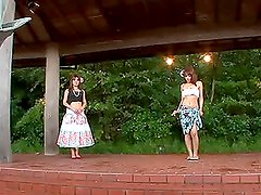 Beautiful mature Japanese woman stripped-down outdoors