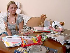 Amy the sexy blonde with pigtails gets fucked by classmate