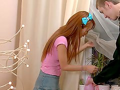 Ajenda the sweet redhead babe gets fucked in both holes