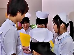 Hot Japanese nurse gets caressed and hotly fucked in the bathroom