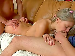 Amazing and divine blond Nika gets in a double penetration