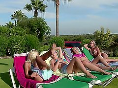 Sunbaked Orgy with four smoking hot blond babes