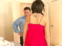 Bobbi Brixton gives a blowjob and gets her pink holes drilled