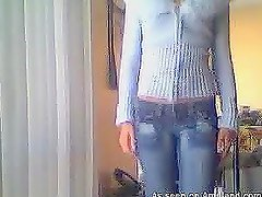 Homemade amateur video of slim teen babe making striptease show