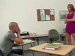 Smoking hot teacher with hot tits gets banged and cummed