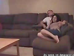 Adorable brunette hottie gets fucked on the couch