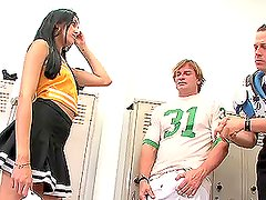 Sexy cheerleader Kimberly Gates gets fucked by two guys in the locker room