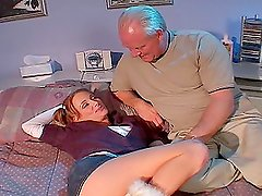 Elderly guy has anal sex with his stepdaughter in her room