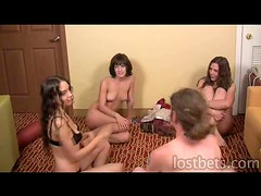 Lily Amber Elise Sean play Strip Spin-the-Bottle