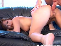 Mocha oriental minx getting her petite butt fucked raw