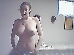 Naked chick with huge natural tits dancing hot
