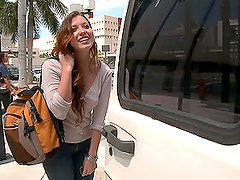 Naughty babe gets hooked up on the street and fucked in the car