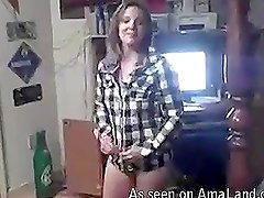 Slutty girlfriend strips for her man and gives a titjob
