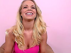 Sexy blonde Britney Young deepthroats a cock and fingers her pussy