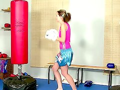 Teen girl gets bored in the gym and decides to take a break for masturbation