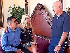 Girl gets fucked by three guys in the presense of two voyeurs