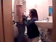 Horny amateur teen getting face fucked in the bathroom