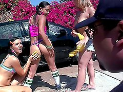 Nasty girls tout all the guys to their sexy car wash