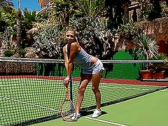 Lovely tennis player gets naughty and hot in the Tennis Court