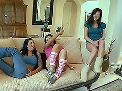 Three hilarious babes are fucking with pizza delivery man