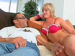 A horny blonde milf blowjobs and rides a cock wildly