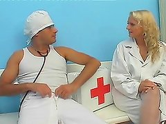 Blonde doctor has fuck with a male nurse in the hospital