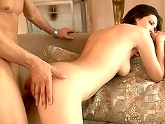 An adult brunette gets her experienced pussy fucked in all positions