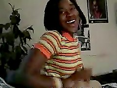Kinky ebony girl licking and sucking a big black cock