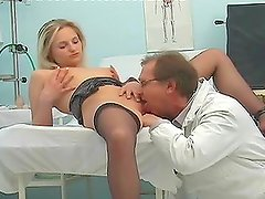 Insatiable doctor fucks his pretty patient on the couch
