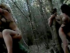 Busty military girls are raped outdoors by some military men