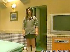 Homemade video of a horny japanese babe giving blowjob
