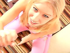 Girl in tight leggins Allison Pierce goes for a handjob