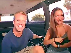 Teen babe Isabell gets in double penetration in the bangbus