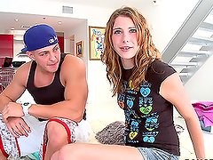 Sexy teen Aubrey Lee blowjobs and swallows the cum