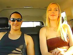Horny blond babe Annette gets naughty and gives a blowjob