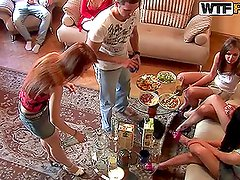 Sexy drunken girls show their asses and boobs at the party