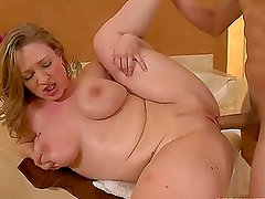 Hot-blooded babe with big natural boobs tries all the known poses