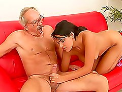 Smokikng Hot Brunette Takes An Old Man's Cock For A Ride