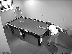 A guy can't resist the temptation to fuck a hot chick on the billiard table