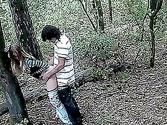 Horny teens have an astonishing doggy style fuck in the forest